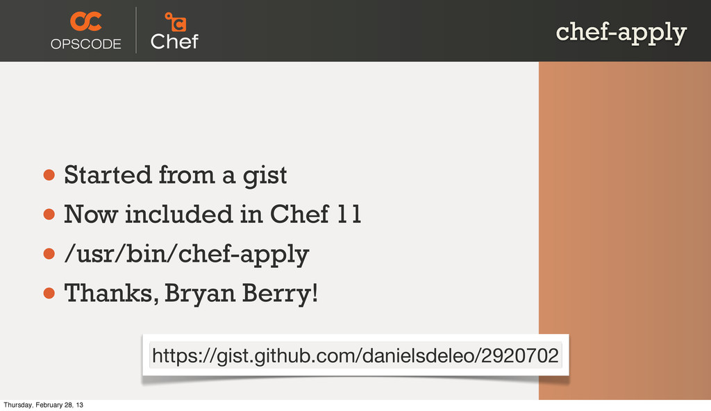 chef-apply • Started from a gist • Now included...
