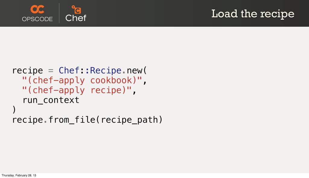 """Load the recipe recipe = Chef::Recipe.new( """"(ch..."""