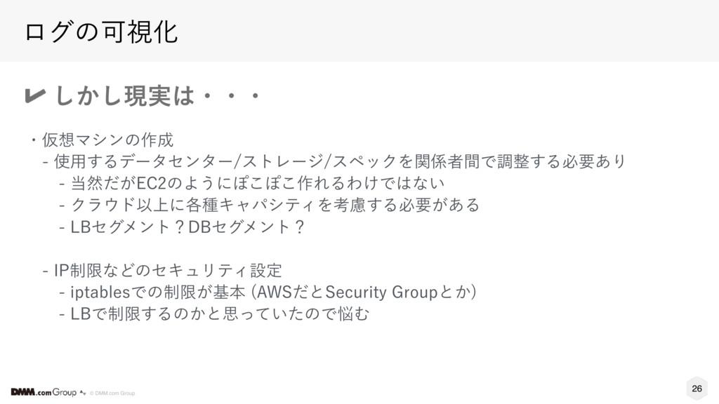 26 © DMM.com Group ϩάͷՄࢹԽ ͔͠͠ݱ࣮ɾɾɾ ɾԾϚγϯͷ࡞ ...