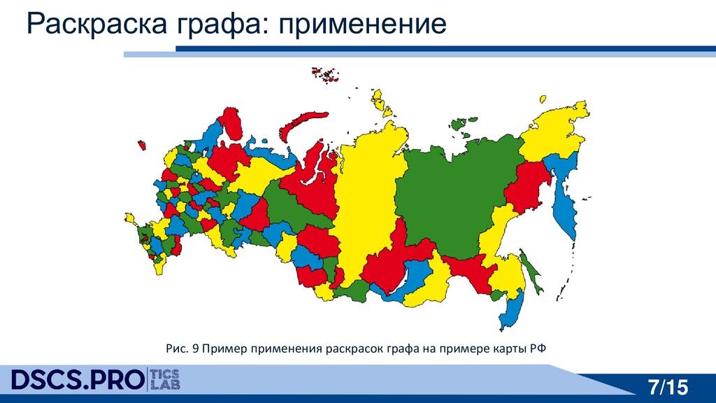 7/15 7/15 Раскраска графа: применение Рис. 9 Пр...