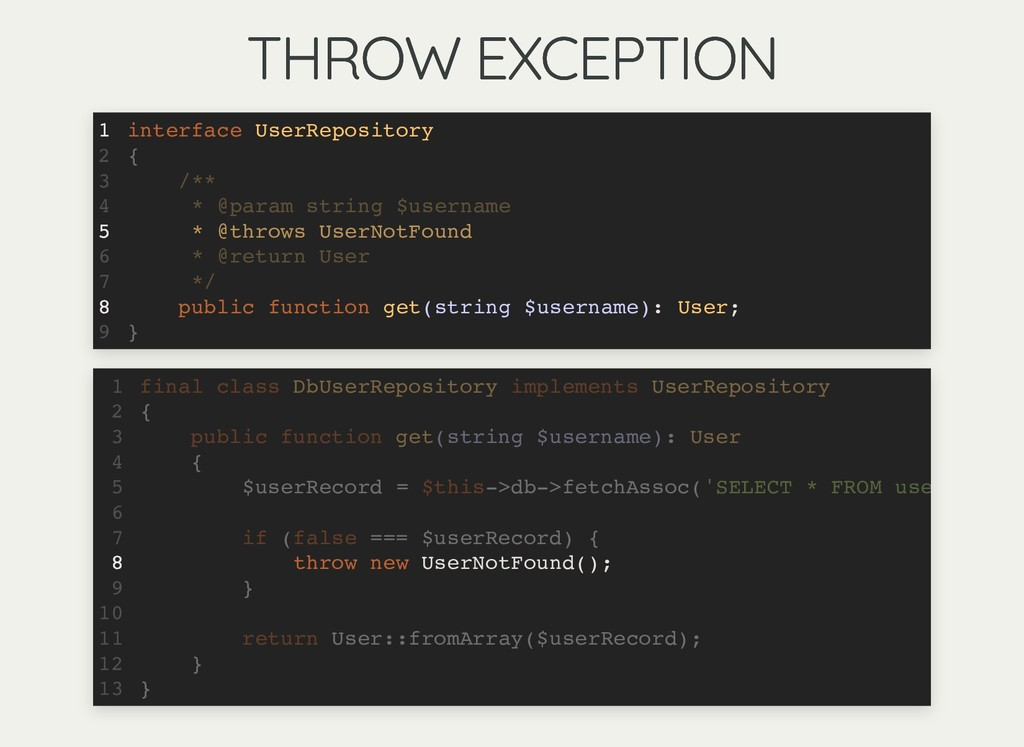 THROW EXCEPTION THROW EXCEPTION interface UserR...