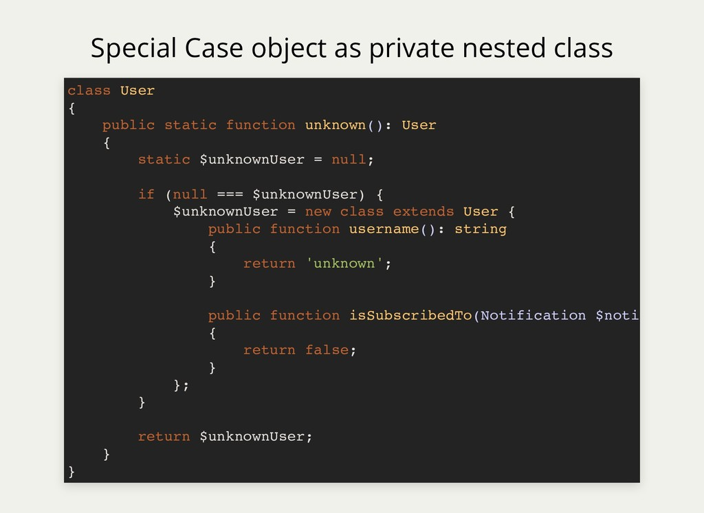 Special Case object as private nested class cla...