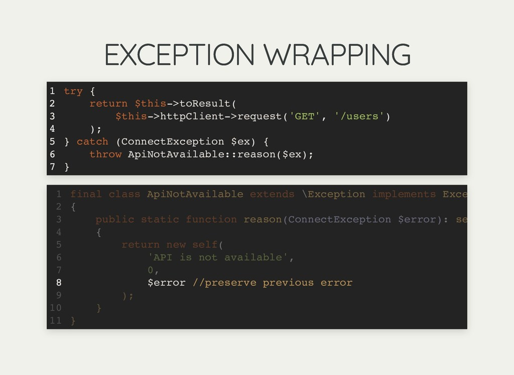 EXCEPTION WRAPPING EXCEPTION WRAPPING try { ret...
