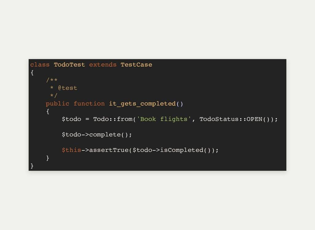 class TodoTest extends TestCase { /** * @test *...