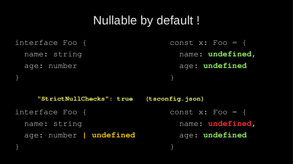 Nullable by default ! interface Foo { name: str...