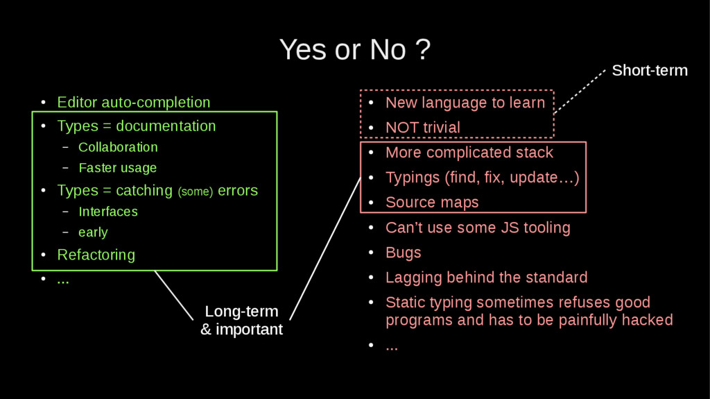 Yes or No ? ● Editor auto-completion ● Types = ...