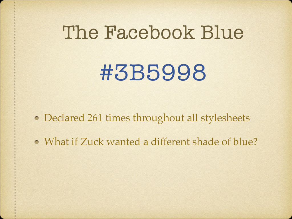 The Facebook Blue #3B5998 Declared 261 times th...