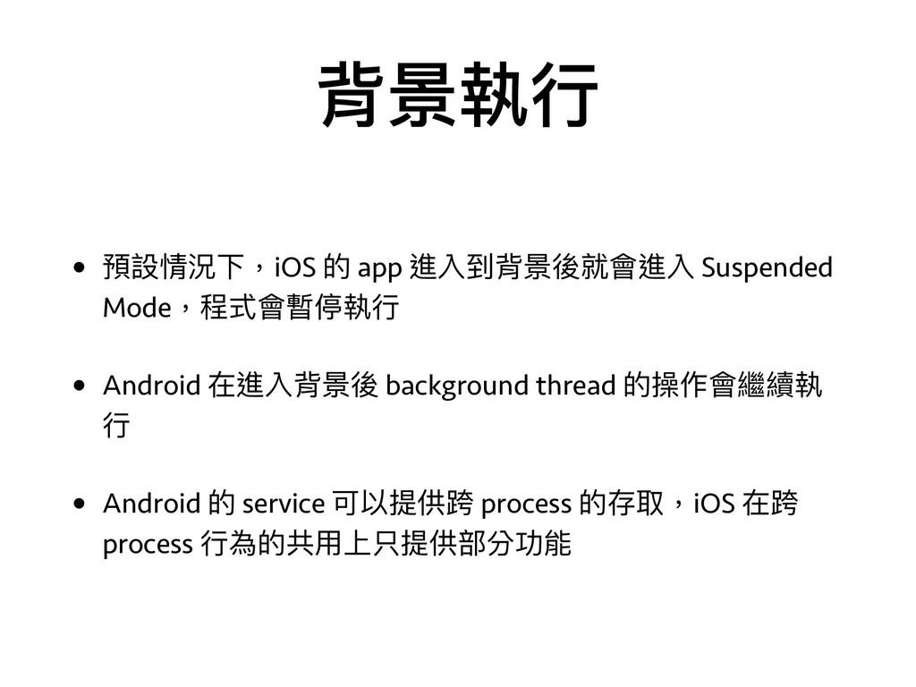 背景執⾏行行 • 預設情況下,iOS 的 app 進入到背景後就會進入 Suspended M...