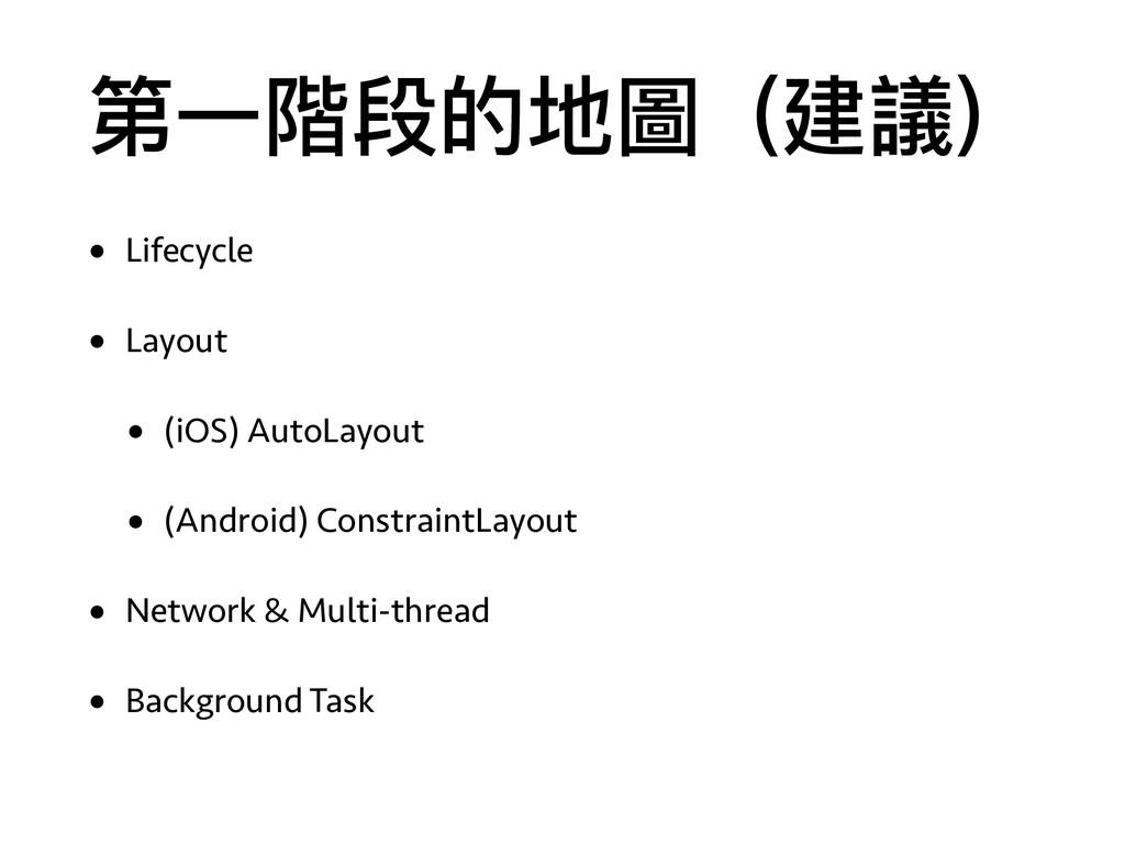 第⼀一階段的地圖(建議) • Lifecycle • Layout • (iOS) AutoL...
