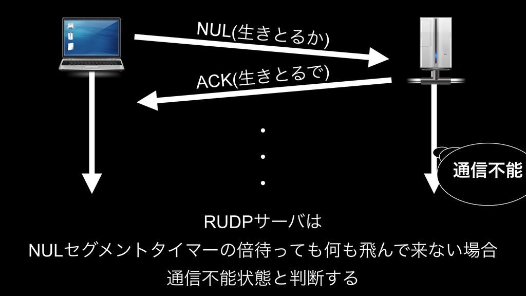 NUL(ੜ͖ͱΔ͔) ACK(ੜ͖ͱΔͰ) RUDPαʔό NULηάϝϯτλΠϚʔͷഒͬ...