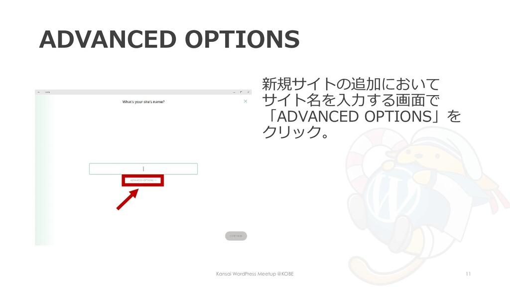 ADVANCED OPTIONS 新規サイトの追加において サイト名を入力する画面で 「ADV...