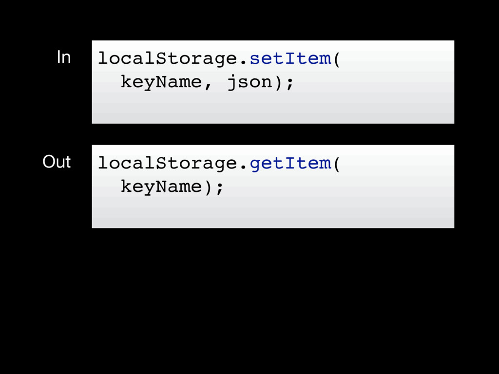 In Out localStorage.setItem( keyName, json); lo...