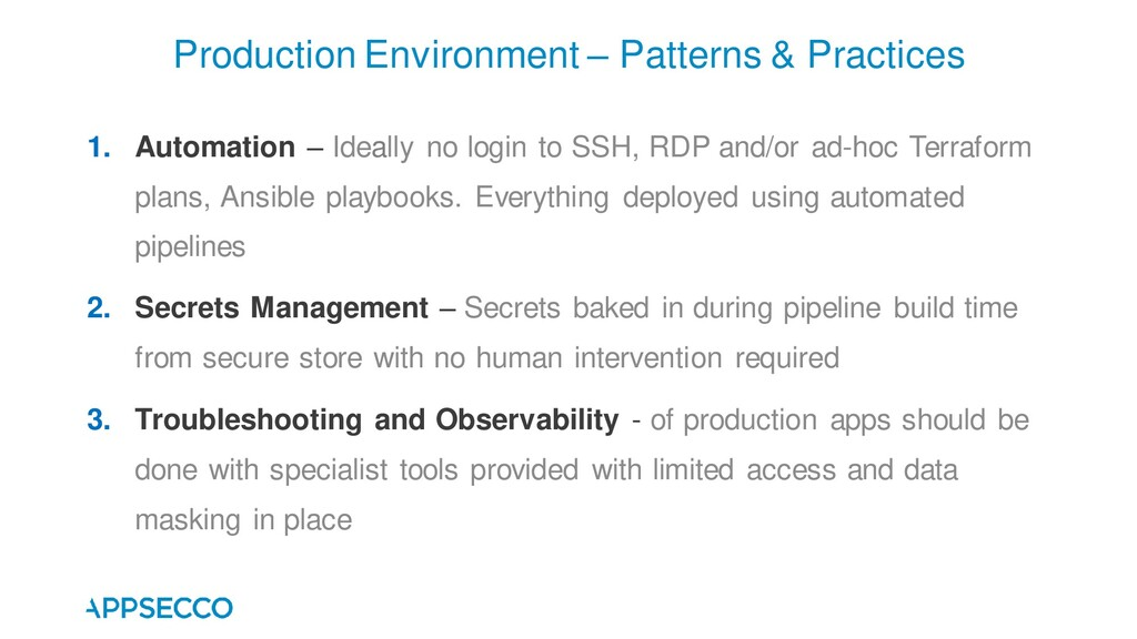 Production Environment – Patterns & Practices 1...