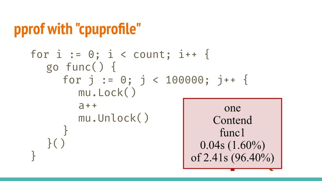 """pprof with """"cpuprofile"""" for i := 0; i < count; i..."""
