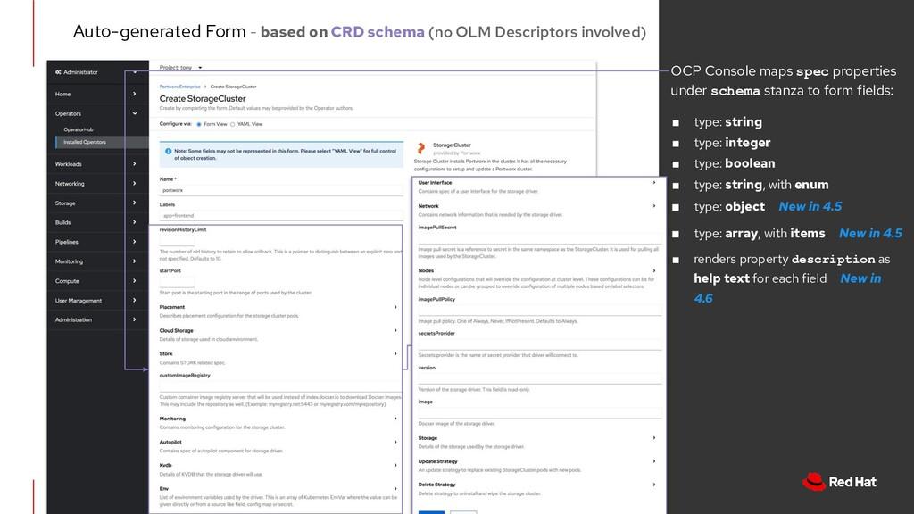 OCP Console maps spec properties under schema s...