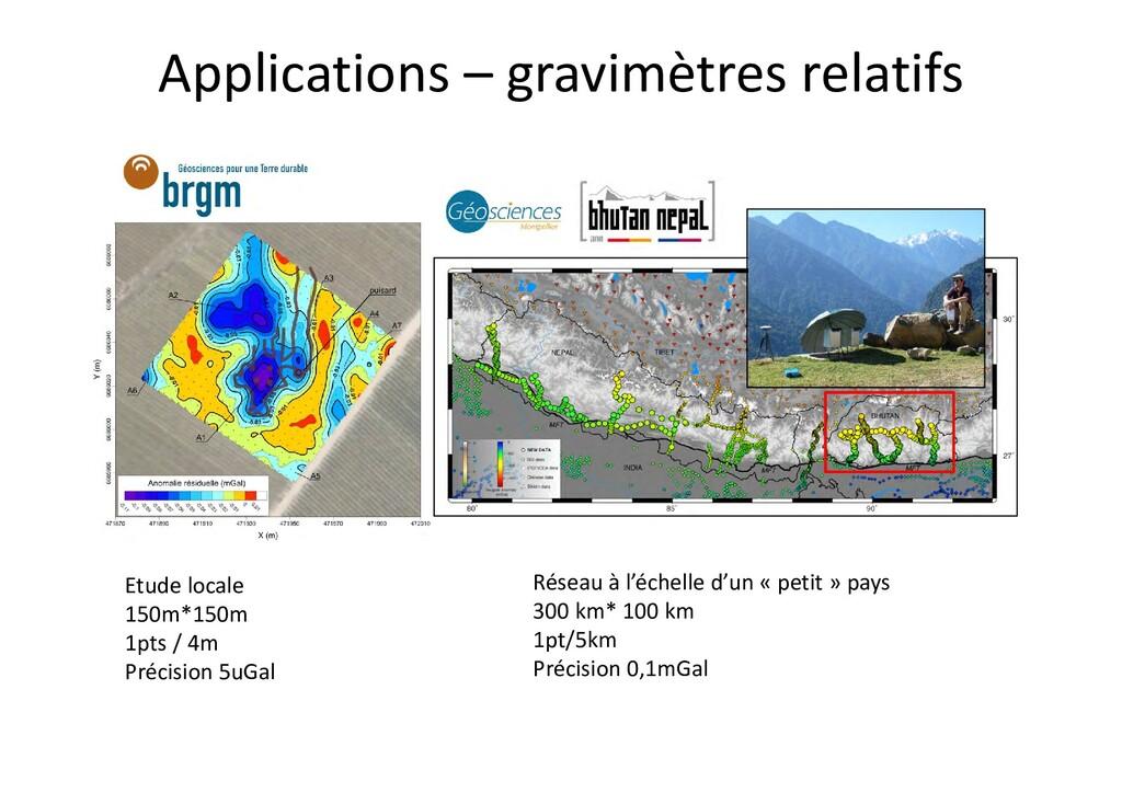 Applications – gravimètres relatifs Réseau à l'...