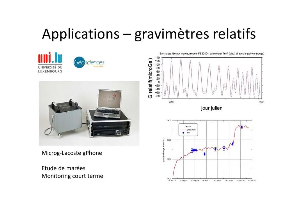 Applications – gravimètres relatifs Microg‐Laco...