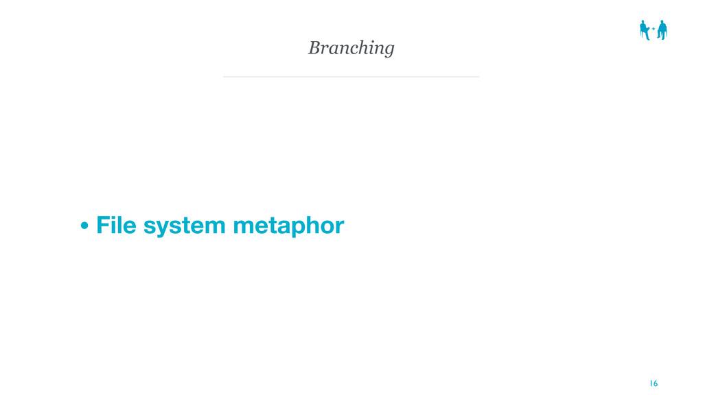 Branching • File system metaphor 16
