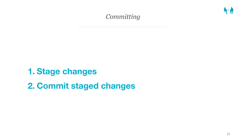 Committing 1. Stage changes 2. Commit staged ch...