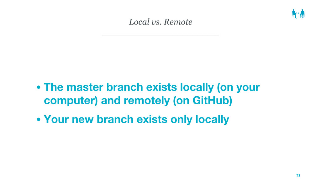 Local vs. Remote • The master branch exists loc...