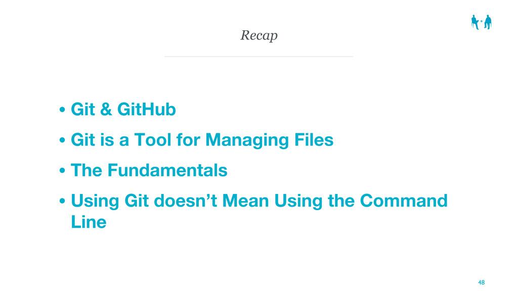 Recap • Git & GitHub • Git is a Tool for Managi...
