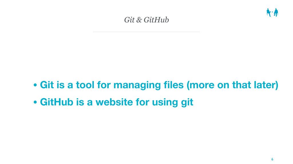Git & GitHub • Git is a tool for managing files ...
