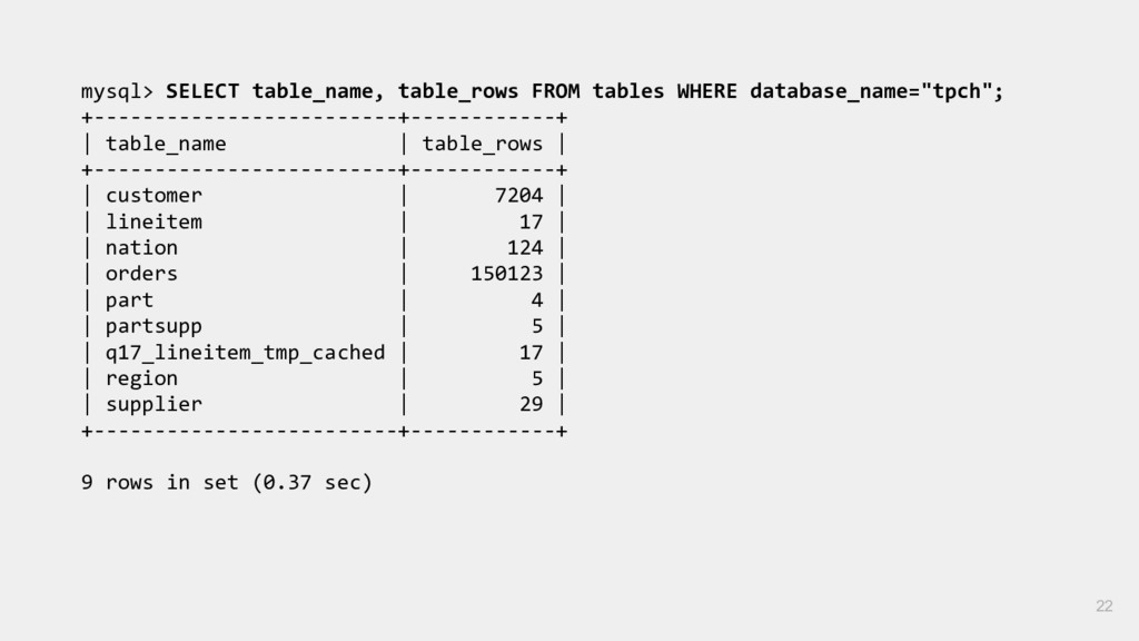 mysql> SELECT table_name, table_rows FROM table...