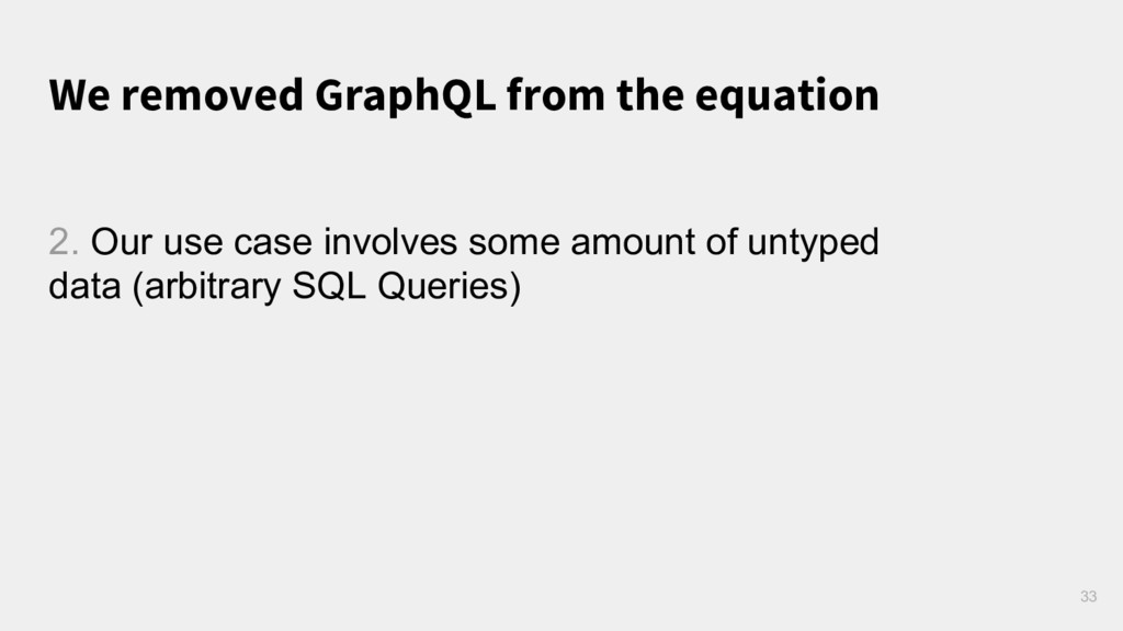 We removed GraphQL from the equation 33 2. Our ...