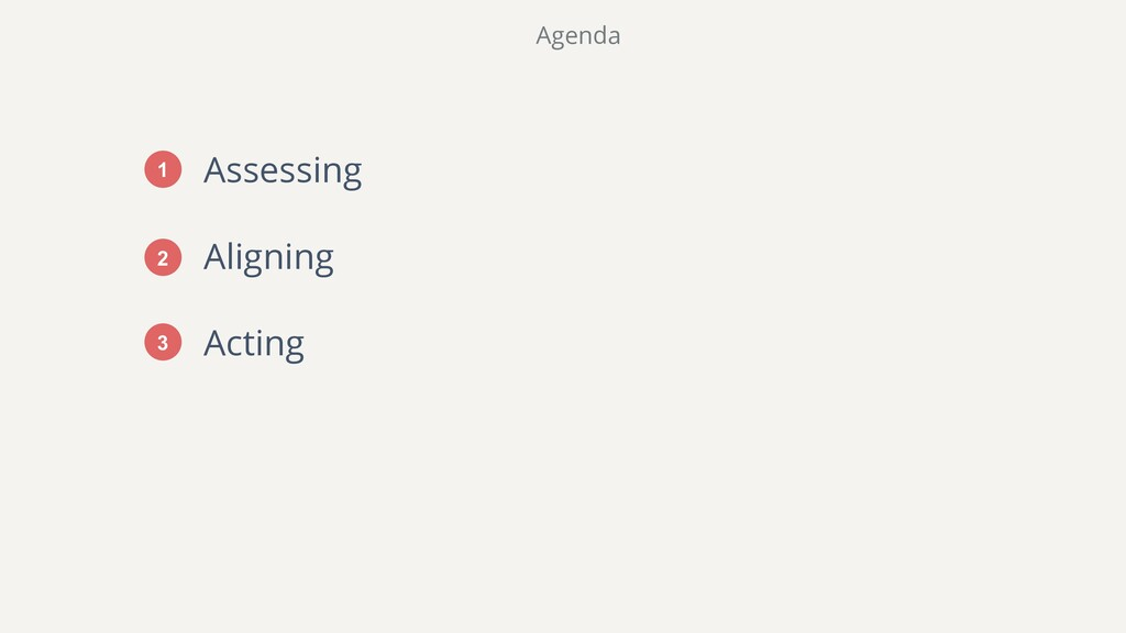 Assessing Aligning Acting Agenda 1 2 3