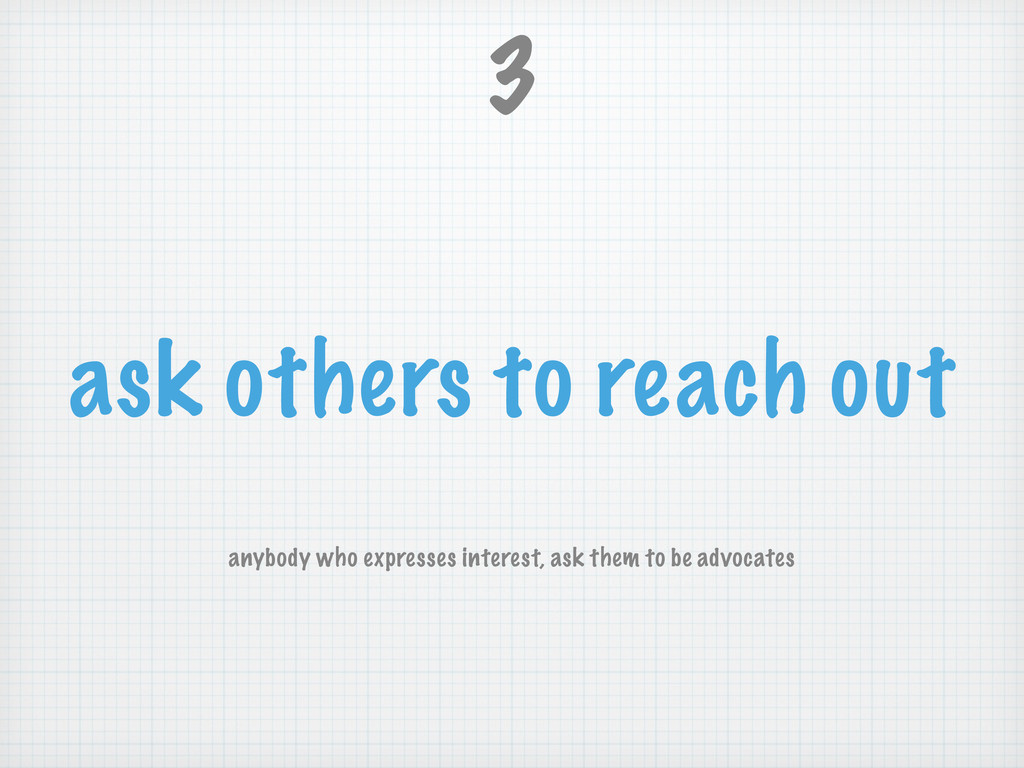 ask others to reach out 3 anybody who expresses...