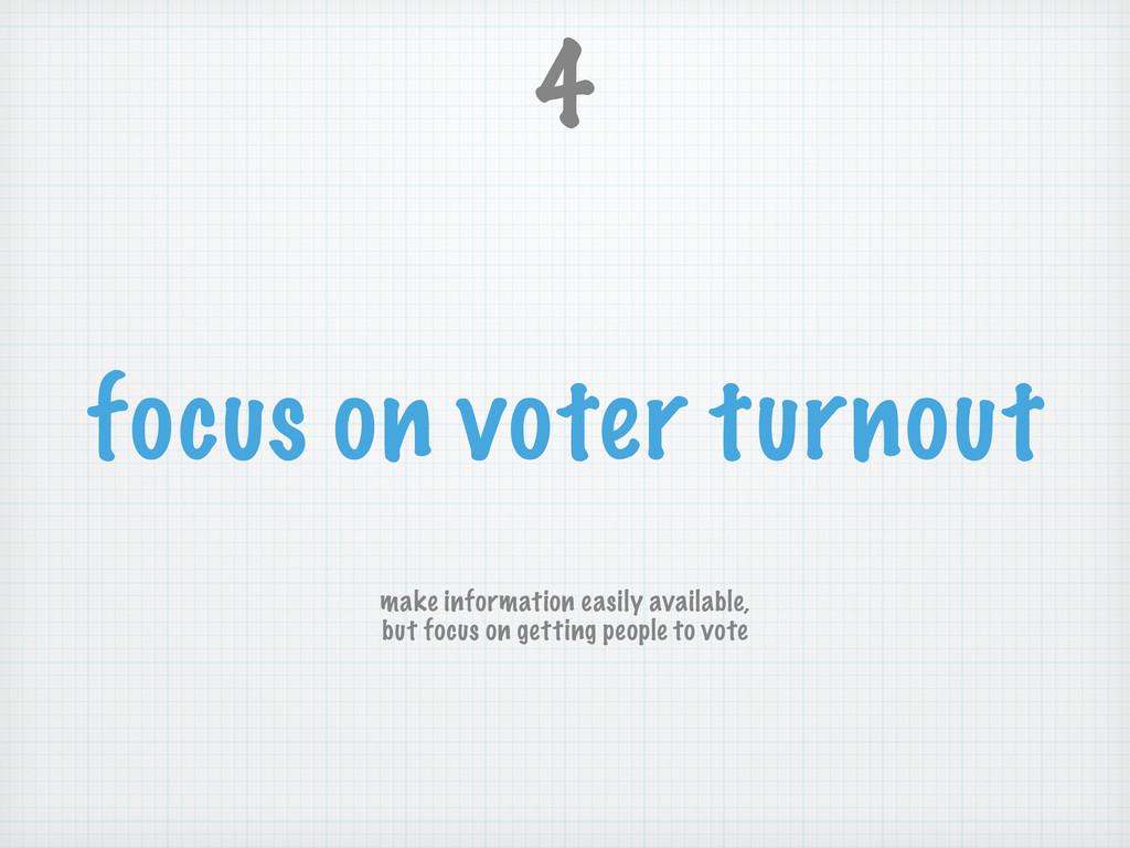 focus on voter turnout 4 make information easil...