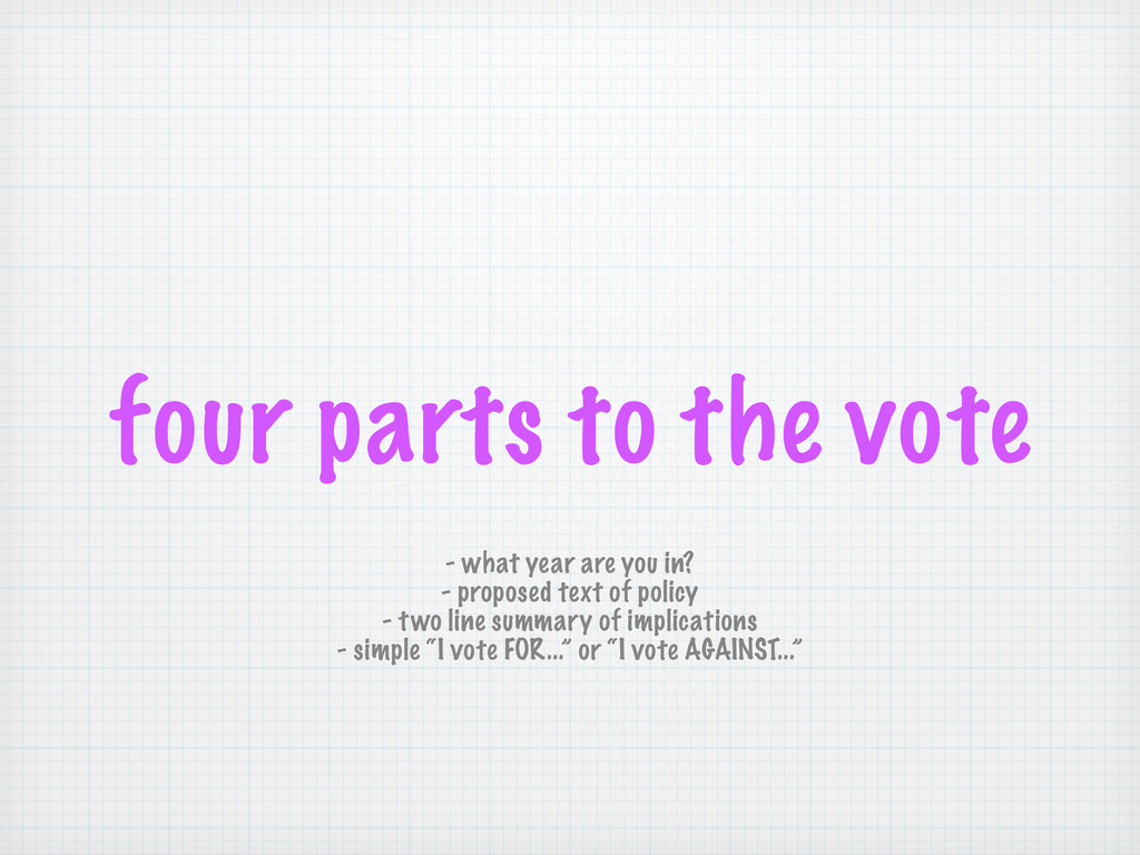 four parts to the vote - what year are you in? ...