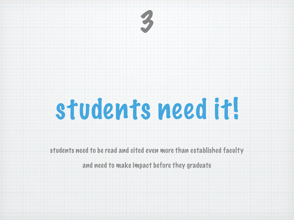 students need it! students need to be read and ...