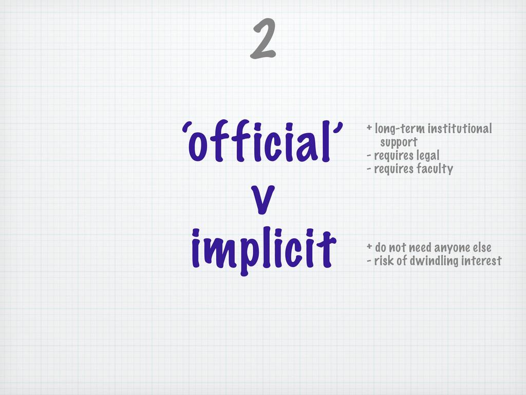 'official' v implicit 2 + long-term institution...