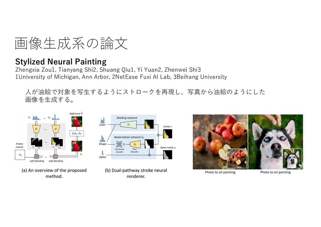 画像⽣成系の論⽂ Stylized Neural Painting Zhengxia Zou1...