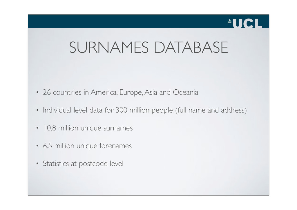 SURNAMES DATABASE • 26 countries in America, Eu...