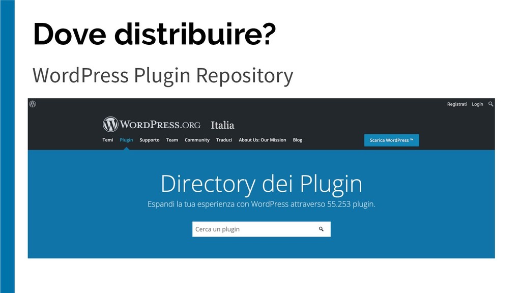 Dove distribuire? WordPress Plugin Repository