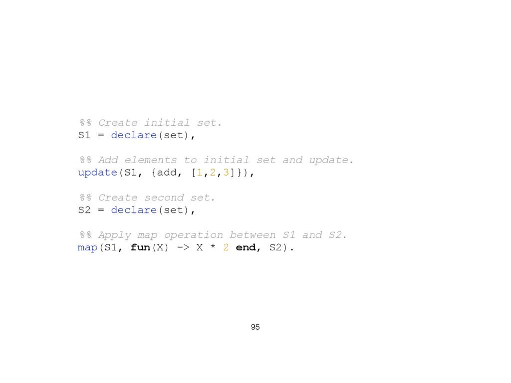 95 %% Create initial set. S1 = declare(set), %%...