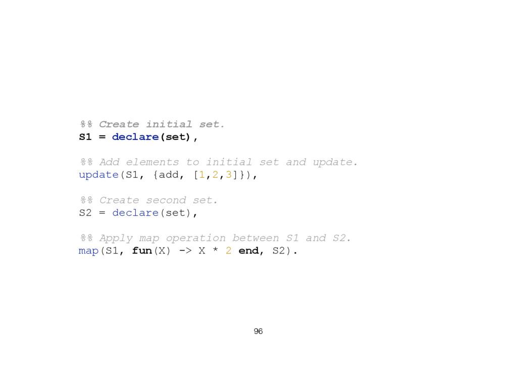 96 %% Create initial set. S1 = declare(set), %%...