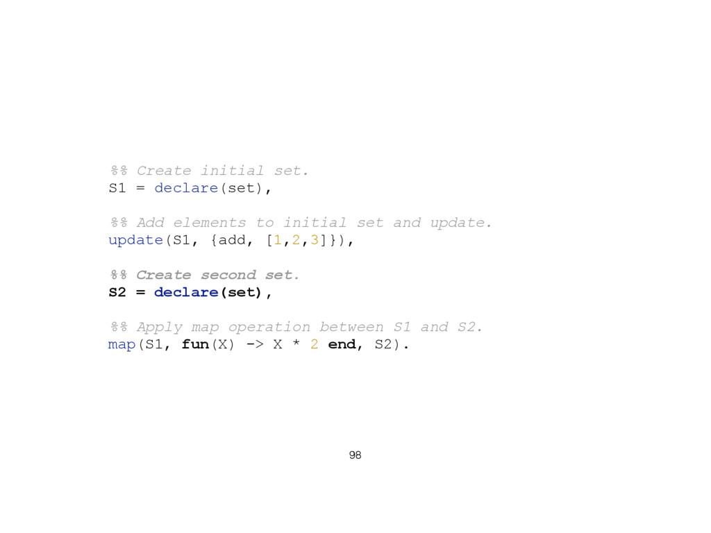 98 %% Create initial set. S1 = declare(set), %%...
