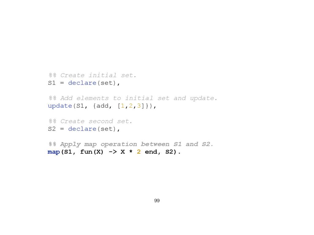99 %% Create initial set. S1 = declare(set), %%...