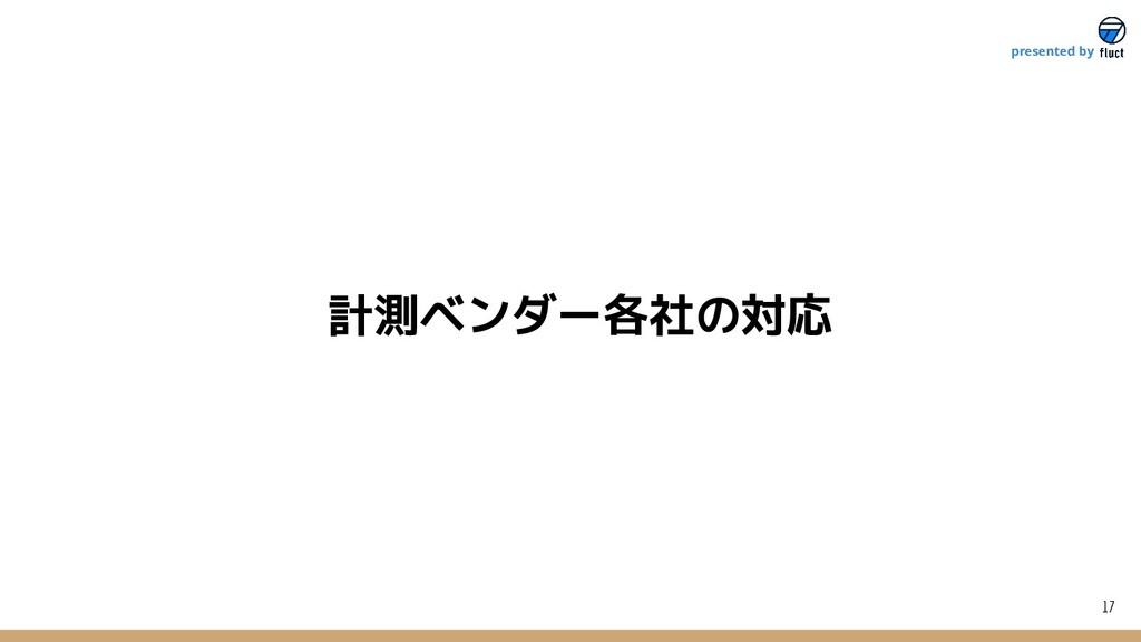 計測ベンダー各社の対応 17 presented by