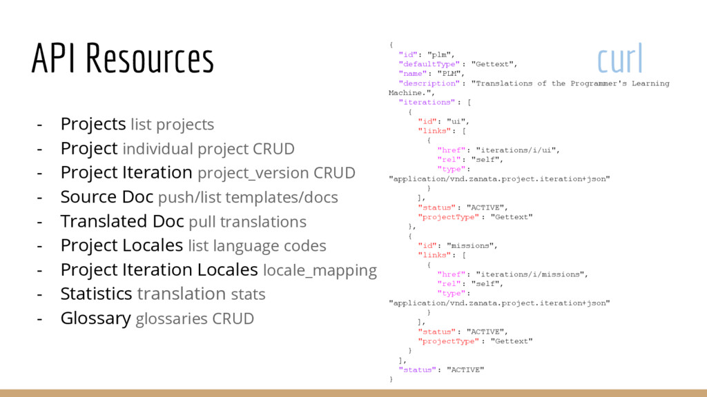 API Resources curl - Projects list projects - P...