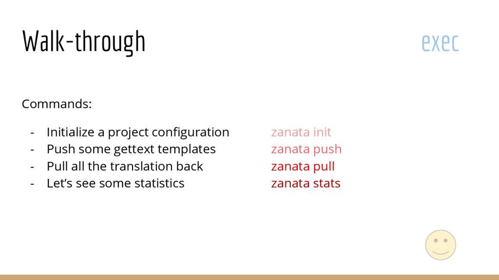 Walk-through exec Commands: - Initialize a proj...