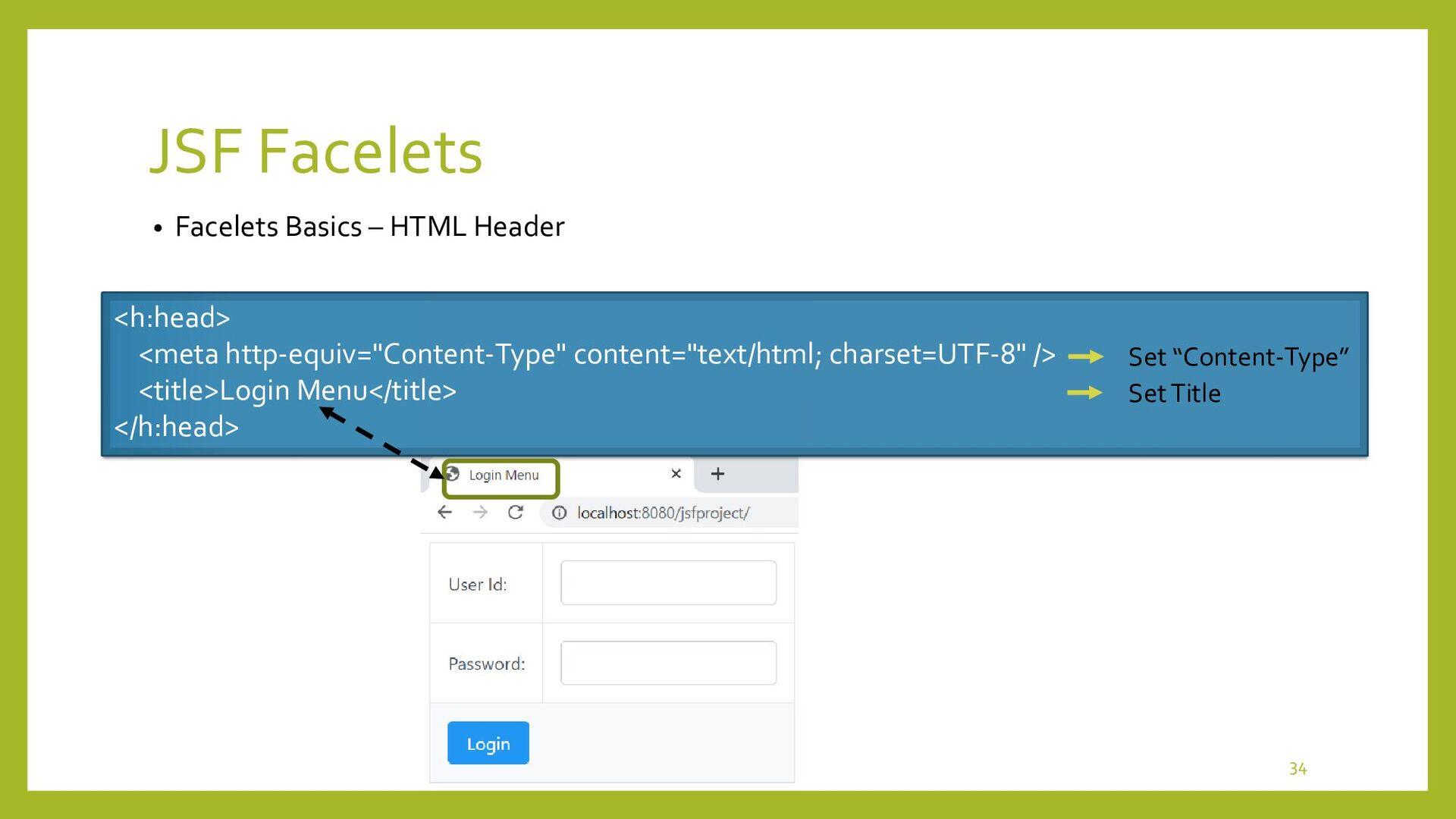 JSF Facelets • Facelets Basics – HTML Body <h:b...