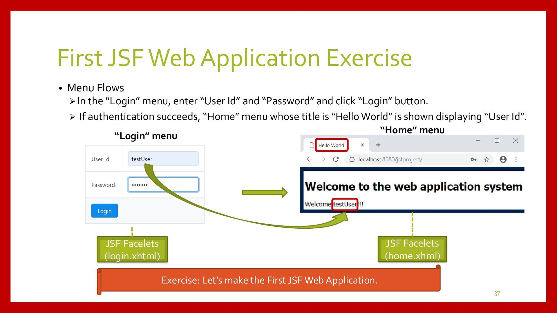 Exercise of First JSF Web Application • JSF Con...