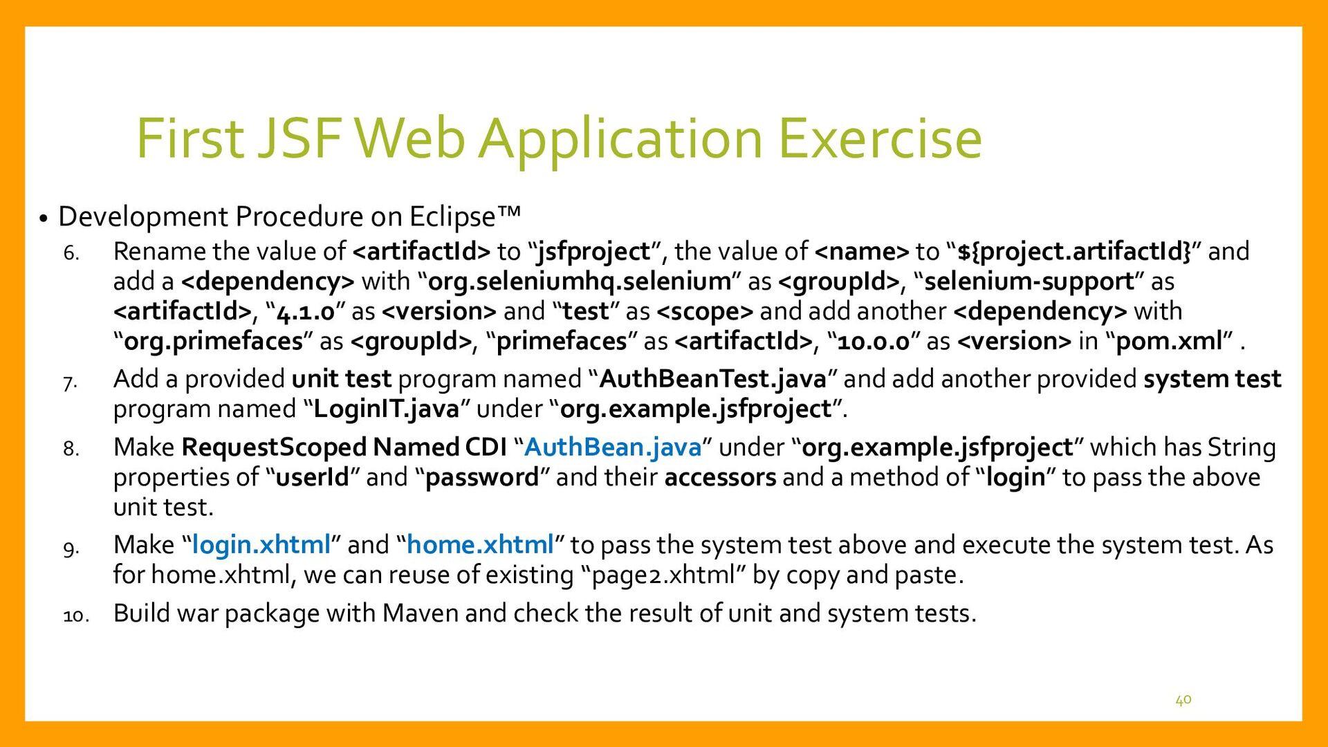 First JSF Web Application Development • Unit Te...