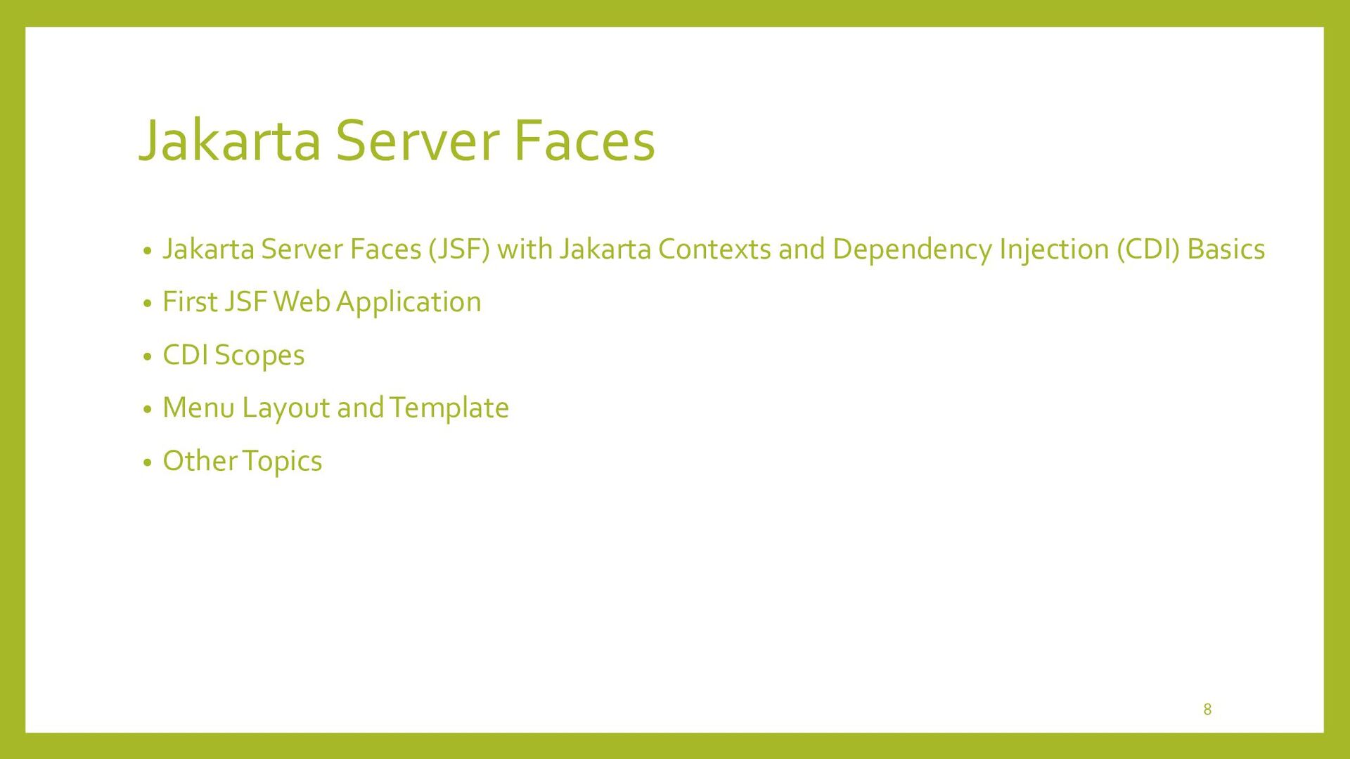 Jakarta Server Faces (JSF) with Jakarta Context...