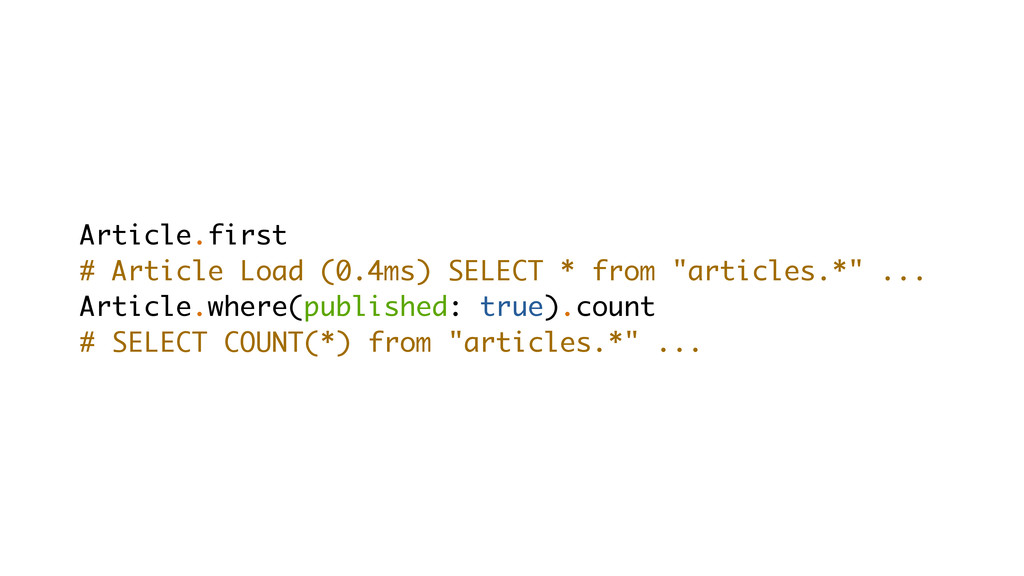Article.first # Article Load (0.4ms) SELECT * f...