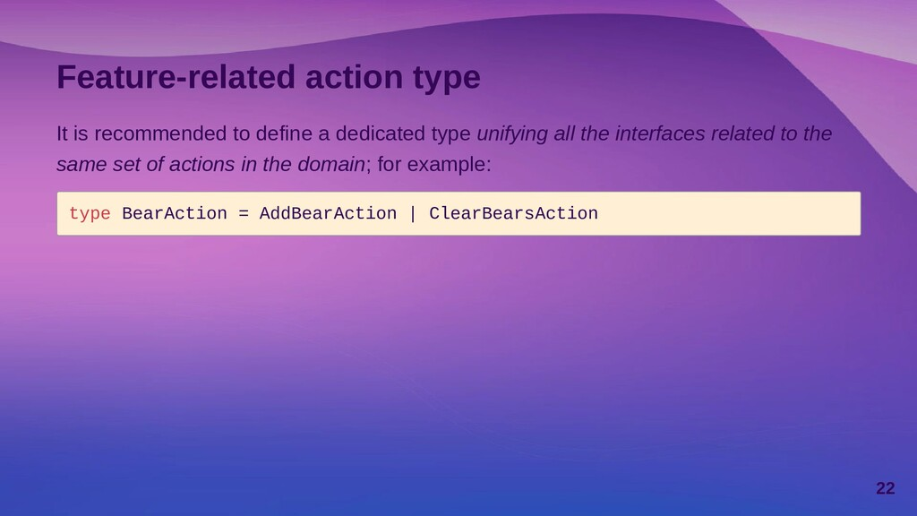 Feature-related action type It is recommended t...
